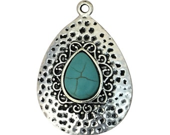 1 Silver Teardrop Turquoise Pendant 50x29mm by TIJC SP1417