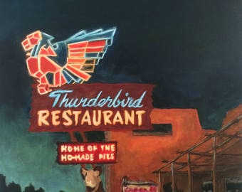 Thunderbird Restaurant 30x40 acrylic on canvas Americana Roadside Art