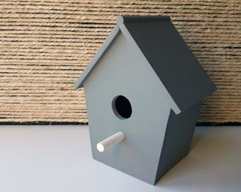 Decorative Bird House   Wooden House for Birds   Grey   Mint