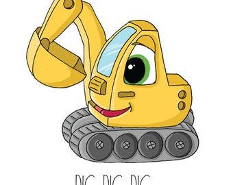 Construction Theme, Boys Wall Art, Children's Art, NURSERY decor, Digger, Yellow