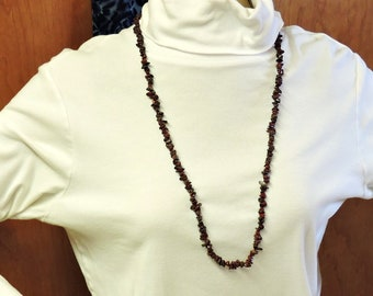 Medium Chip Gemstone Necklace - Long Necklace ... Dark Red Long Necklace about 34 inches long