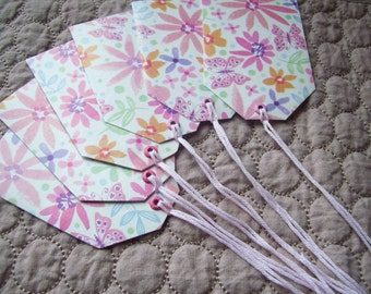 CLEARANCE SALE Floral gift tag set eco-friendly upcycled flowers pink spring summer set of 5