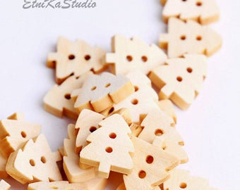 natural wood Christmas Tree / Pine Tree sewing buttons, tree design, two holes, scrapbooking, pack of 10