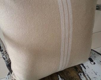 Grain Sack Zippered Pillow Cover/Tan Fabric/Cream Stripe
