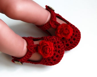 WILLOW Red Crochet T-strap Mary Jane Shoes,Baby Girl Booties,Flower Booties,size Newborn,0-3, 3-6,6-9,9-12 mths,Made to Order