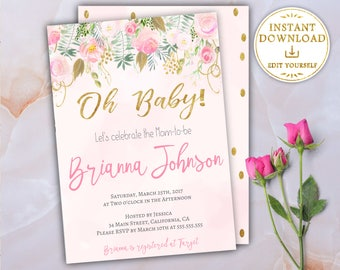 Oh Baby Shower Invitation Girl Baby Shower Invitation Baby Shower Invite Floral Baby Shower Invitation Template Editable Blush Pink Gold
