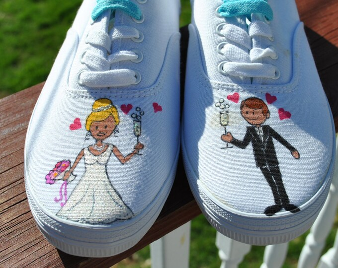 For Sale Wedding Day Hand Painted Sneakers size 9w  ready to ship