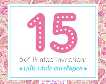 15, 5x7 Invitations with White Envelopes Professionally Printed