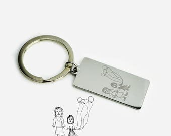 Actual Child's Drawing Keychain, Kids Drawing Keychain, Gift for Dad from Son or Daughter, Personalized Drawing Keychain, Handwriting Gift