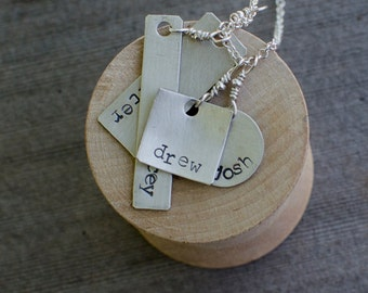 PERSONALIZED MOTHER'S NECKLACE, Hand Stamped Mother's Necklace, Mother's Necklace, Family Necklace, Personalized Name Necklace