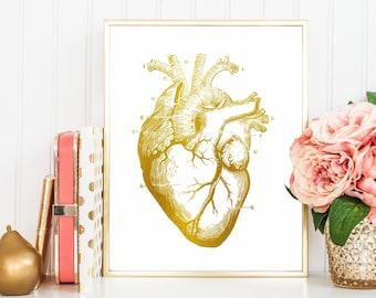 Anatomical Heart Print, Nursing Student Decor, Human Heart Anatomy Art, Anatomic Heart, Anatomy Print, Faux Gold Foil, Grad Doctor Gift