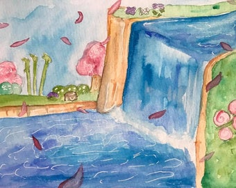 Animal crossing water color painting