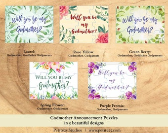 Puzzle- Will You Be my Godmother, will you be my Godfather, be my godparents, announcement, invitation, baptism