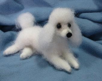 Miniature Poodle.Dollhouse Dog.Felted Animal.Needle Felted Dog.Handmade Dog Figurine.White.Soft Sculpture.Pet.Made to Order.