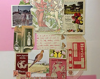 Unique Pinks and Corals Ephemera and Vintage Ribbon Pack