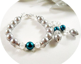 Teal and Gray Bracelet and Earrings, Jewelry Set.Bridesmaid Jewelry, Wedding Jewelry, Bridal Accessories, Gray and Teal, Prom Jewelry