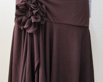 Brown skirt or tube dress with rose decoration plus made in USA (v70)