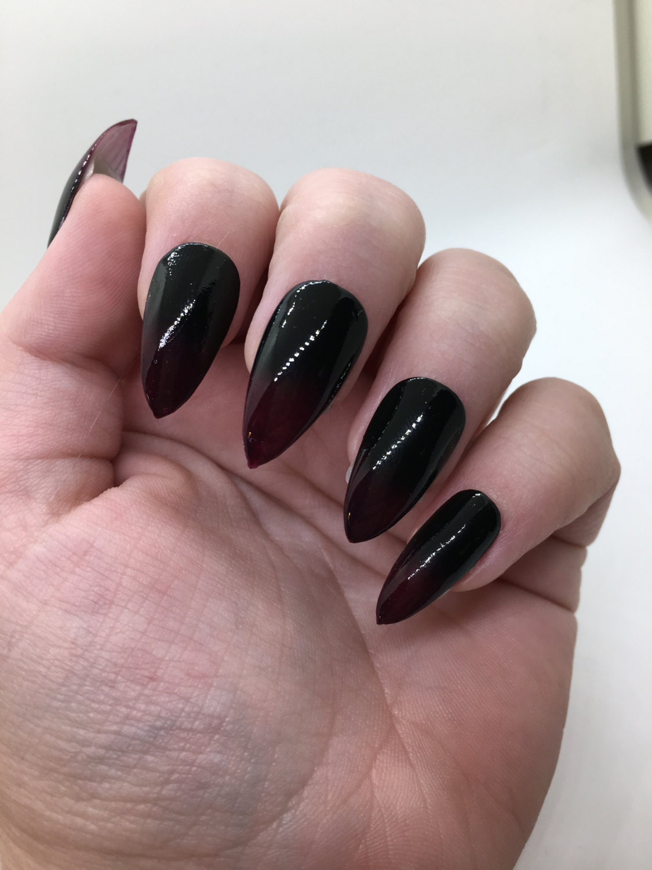 Black to Dark Purple Gradient Fake Nails | Press On | Glue On Nails ...