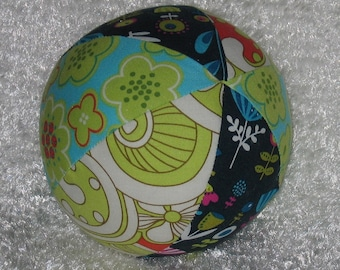 Blue and Lime Green Park Slope Fabric Ball Rattle - SALE