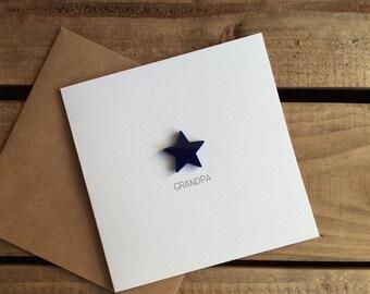 Grandpa Card with Navy detachable Star magnet keepsake