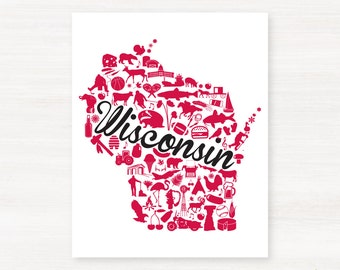 Madison, Wisconsin Landmark State Giclée Map Art Print  - 8x10 -  Graduation Gift Idea - Dorm Decor