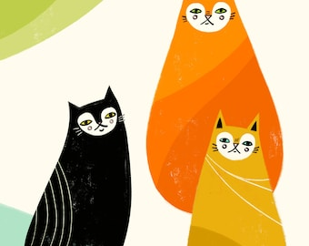 Kitty Trio - Fine Art Print 8x10 - Retro - Rainbow - Mod - Mid Century - Wall Decor - Dorm - Nursery - Gifts for her - Giclee -