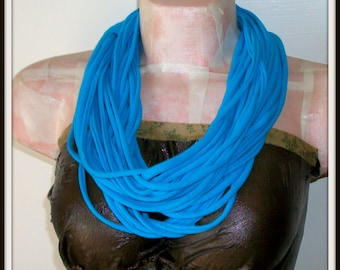 Blue Turquoise Infinity Multi Strand T shirt Jersey Scarf