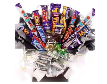 Large chocolate bouquet, chocolate bouquet mixed chocolate bars, chocolate gift bouquet, chocolate bar bouquets, birthday gifts, get well