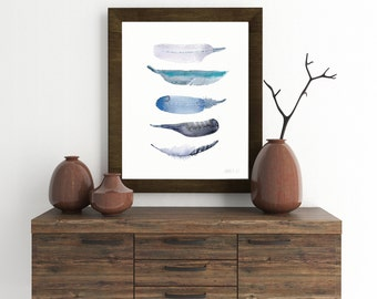Watercolor art print. Blue bird feather art print from original watercolor art - 5 Bird feathers giclee artprint - Five feather water-colour