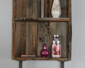 Rustic Medicine Cabinet, Industrial Shelf, Reclaimed Wood Shelves, Medicine Cabinet, Bathroom Wall Cabinet, Rustic Bathroom Shelves