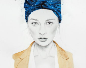Scarf - Giclee Print A3 -  Watercolour & Graphite fashion Illustration