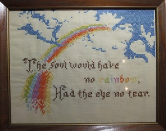 Vintage Embroidered Framed Picture, Rainbows