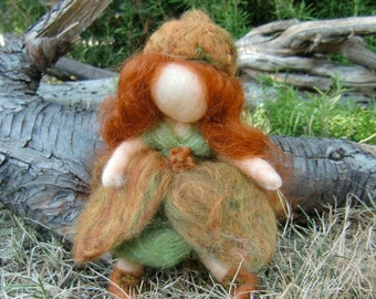 Acorn Pixie Fairy- Waldorf Inspired Needle Felted Soft Sculpture - bendy -