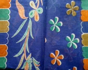 Floral Block Print Fabric By The Yard, Blue Printed Indian Sari Fabric, Flower Print Saree Fabric By The Yard, Indian Handmade Cotton Fabric