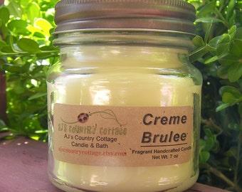 CREME BRULEE CANDLE, Caramelized Vanilla Custard, Vanilla Candles, Caramel Candles, Scented Candles, Strong Candles, Rustic Mason Jar Candle