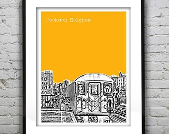 Jackson Heights New York Skyline Art Print Poster Queens Number 7 Train NY