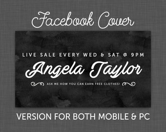Facebook Cover, Facebook Timeline, Facebook Chalkboard, Facebook Black - Custom - Personalized
