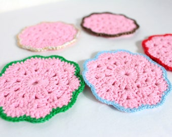 Valentine gift Crochet coasters round Pink kitchen gift 5 lace coasters Drink coaster Lace doilies Crochet doilies Crochet gift for women