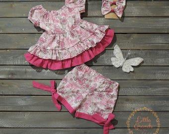 Pink Paisley Tunic Shirt and Shorts Set 2T