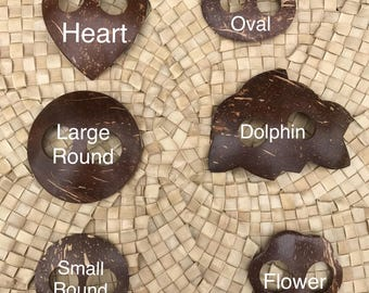 Pareo tie or buckle for Polynesian costuming , coconut shell wood,choose  shape