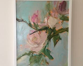 Roses Painting-FRAMED in WHITE  Rose Flower Painting- 16 x 20 Pink and Gray Blue- Flower Painting- Stretched Canvas