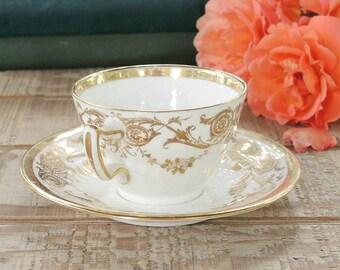 Antique Wedgwood Demitasse Gold Filigree Pattern Tea Cup Set Fine English Bone China Y5500