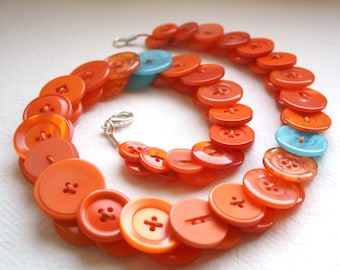 Orange with aquamarine button necklace Button Jewellery Button Jewelry UK Handmade