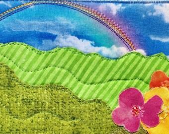 Colorful Fabric Postcard - Rainbow Landscape - Mountain Fiber Art - Cheerful Greeting Card - Wall Decor - Nature Art -  Flower Landscape