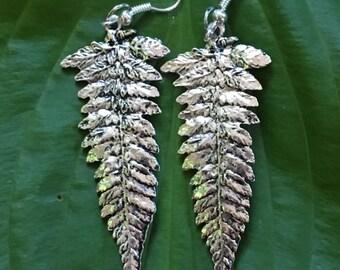Fern Leaf Silver Earrings