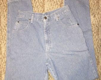 Vintage Brittania 80's  Women's Mom Jeans Denim Size 8x31 High Waist Pin Stripe