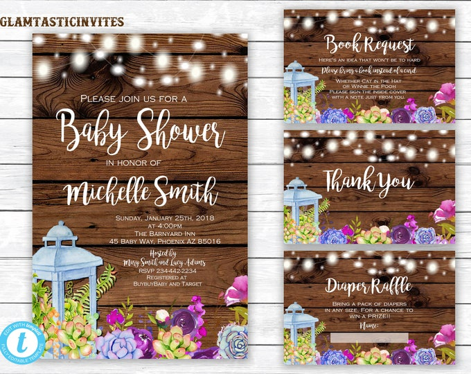 Rustic Floral Baby Shower Template, Baby Shower Invitation Template Set, Country Baby Shower, You Edit, Diaper Raffle Card,Book Request Card
