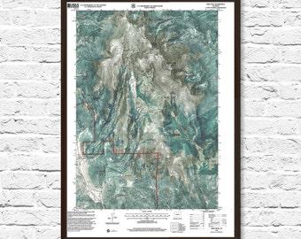 Pikes Peak, Pikes Peak Map, Colorado Map, Colorado Art, Mountain Art, Topographic Map Art, Home Decor, Wall Art, Pike Peak