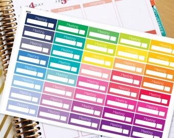 Meeting Planner Stickers Erin Condren Life Planner (ECLP) - 40 Meeting Stickers (#6020)