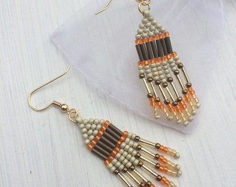 Gold Plated and Beaded Chandelier Earrings, Native American Style, Brick Stitch, Handmade, Orange and Gold